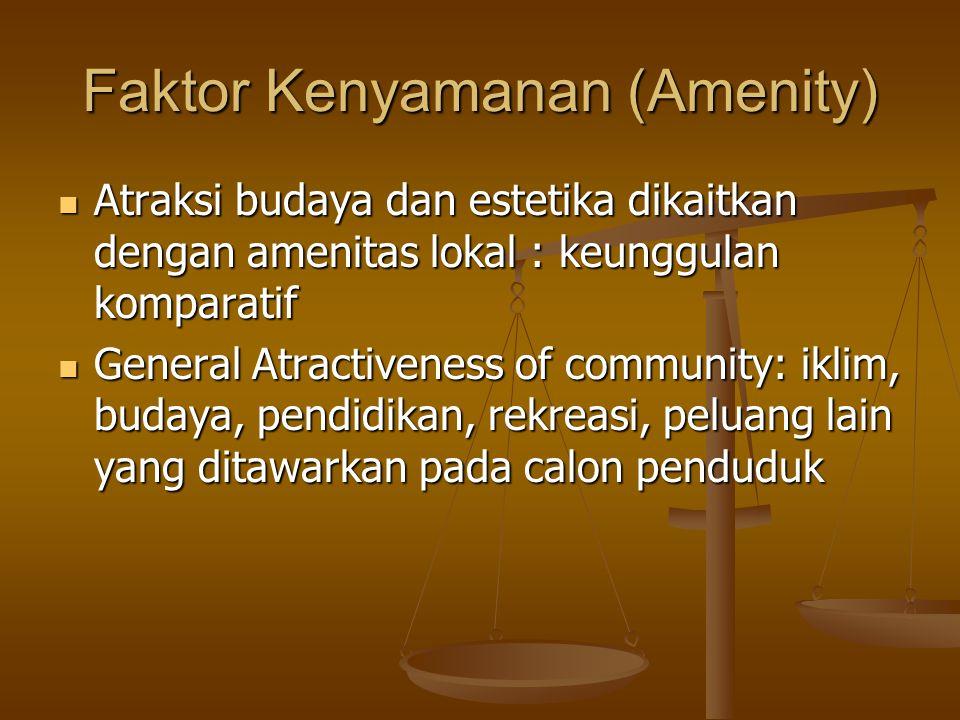 Faktor Kenyamanan (Amenity) Atraksi budaya dan estetika dikaitkan dengan amenitas lokal : keunggulan komparatif Atraksi budaya dan estetika dikaitkan