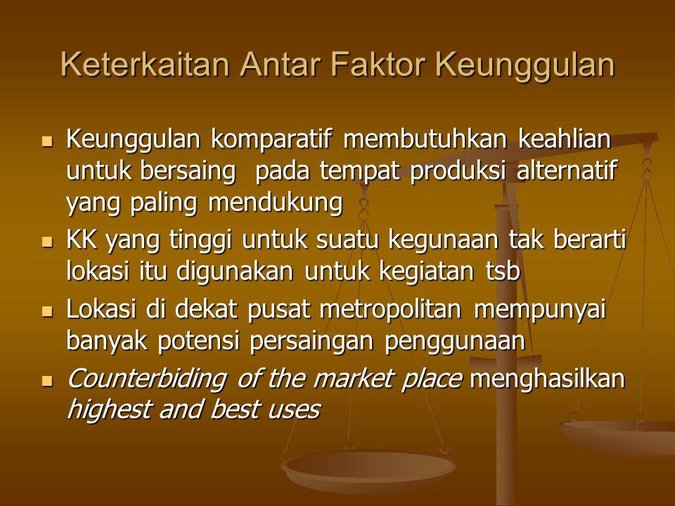 Keterkaitan Antar Faktor Keunggulan Keunggulan komparatif membutuhkan keahlian untuk bersaing pada tempat produksi alternatif yang paling mendukung Ke