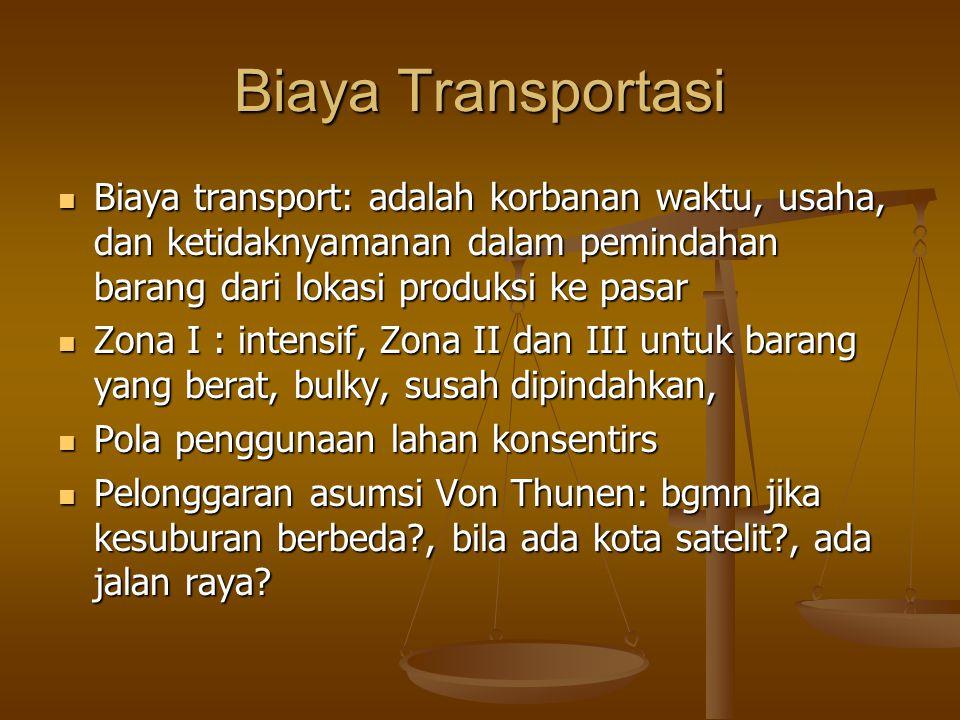 Biaya Transportasi Biaya transport: adalah korbanan waktu, usaha, dan ketidaknyamanan dalam pemindahan barang dari lokasi produksi ke pasar Biaya tran