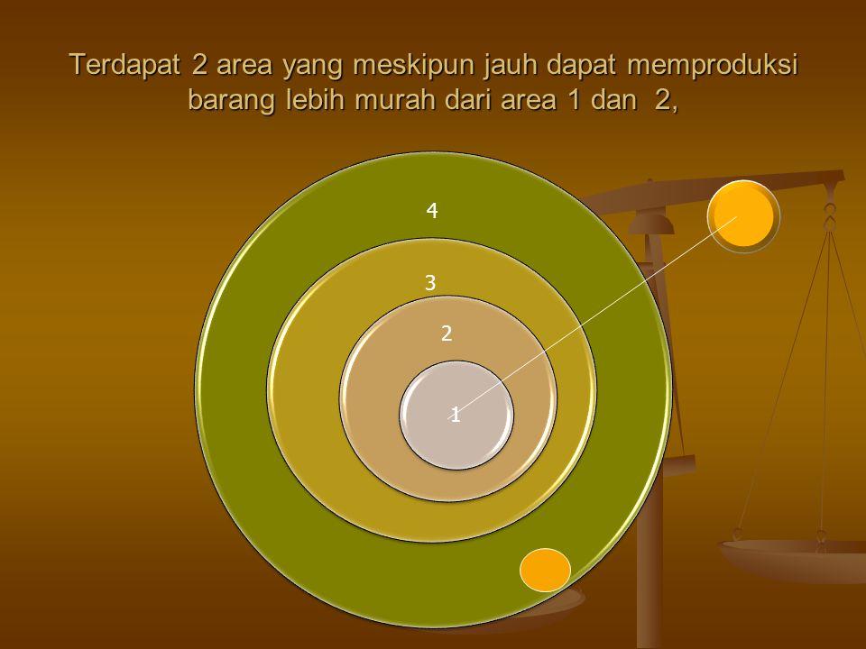 Terdapat 2 area yang meskipun jauh dapat memproduksi barang lebih murah dari area 1 dan 2, 4 3 2 1