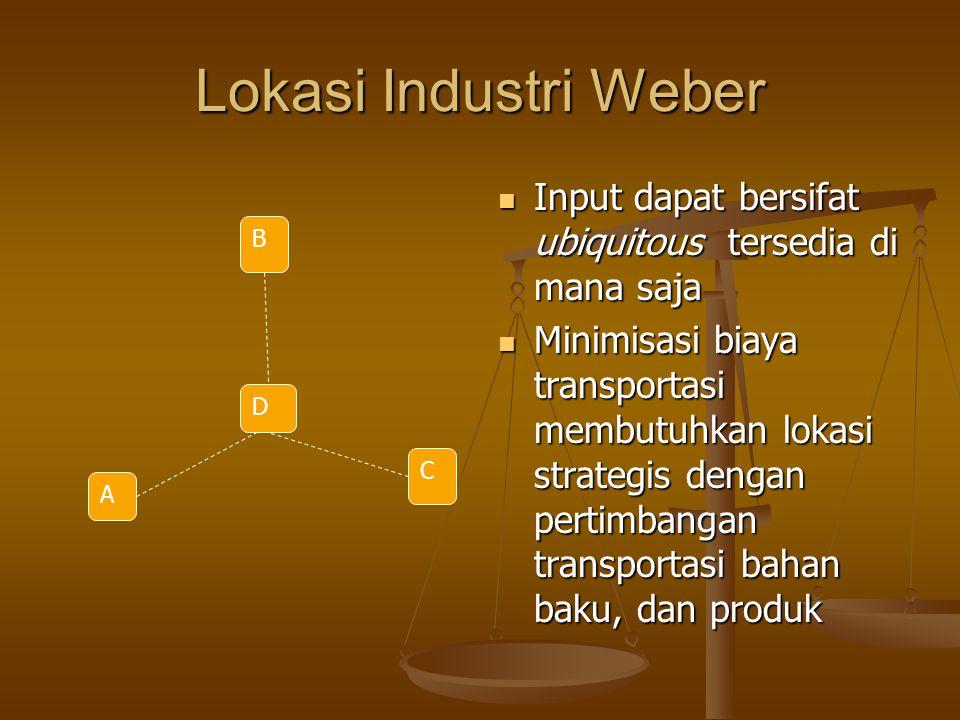 Lokasi Industri Weber Input dapat bersifat ubiquitous tersedia di mana saja Minimisasi biaya transportasi membutuhkan lokasi strategis dengan pertimba