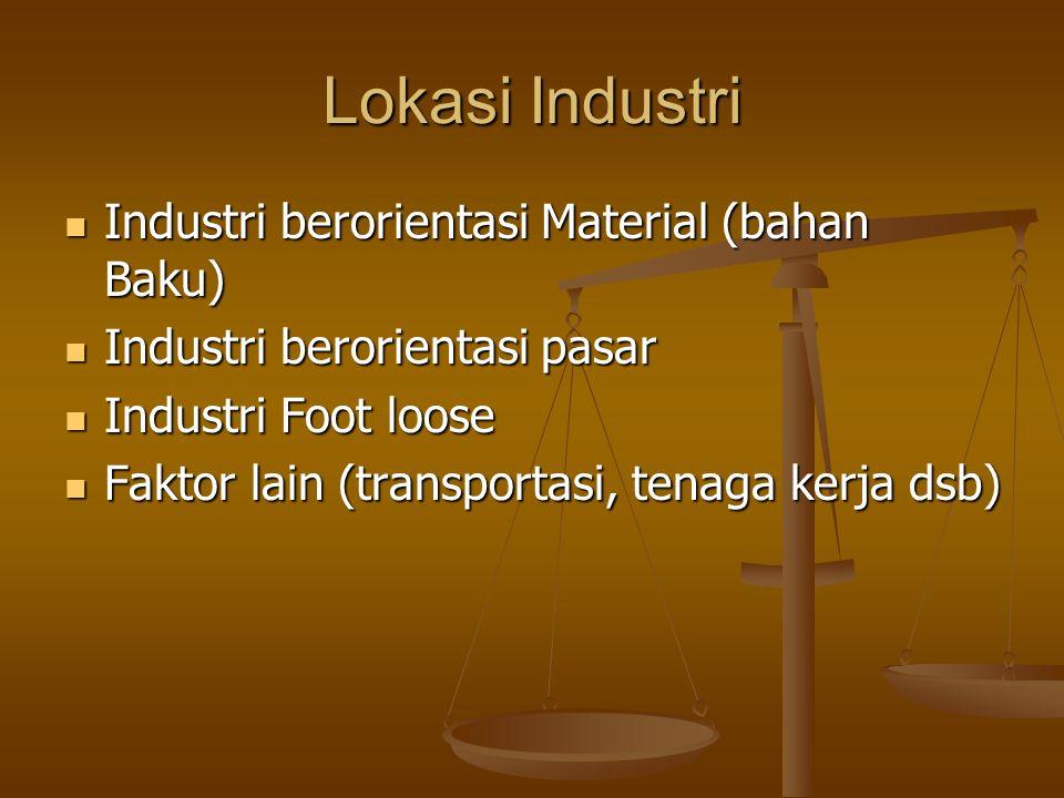 Lokasi Industri Industri berorientasi Material (bahan Baku) Industri berorientasi Material (bahan Baku) Industri berorientasi pasar Industri berorient