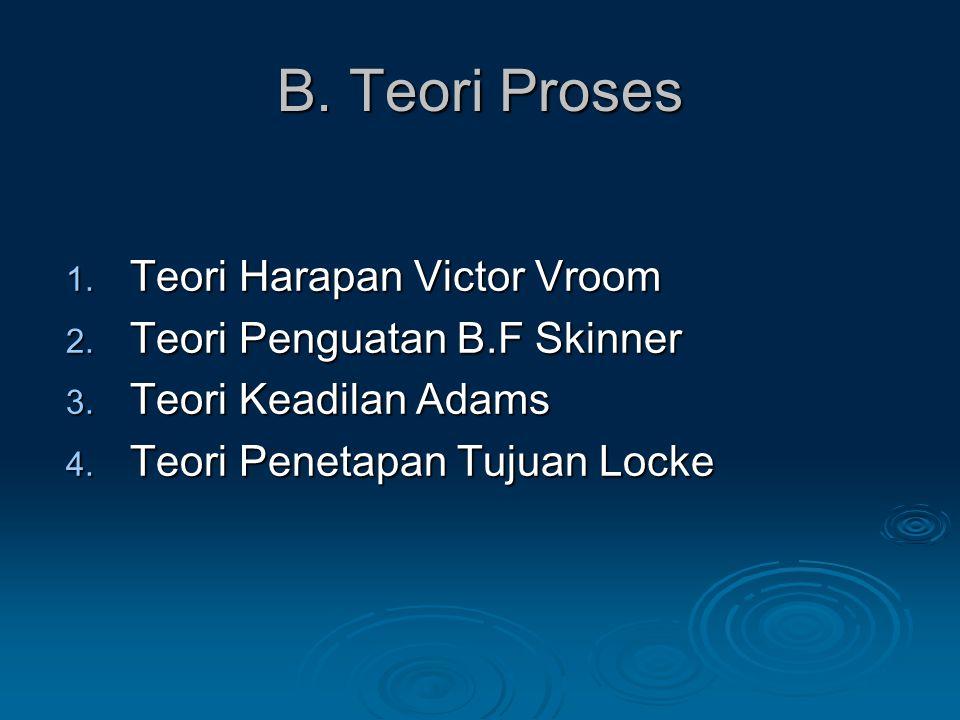 B.Teori Proses 1. Teori Harapan Victor Vroom 2. Teori Penguatan B.F Skinner 3.