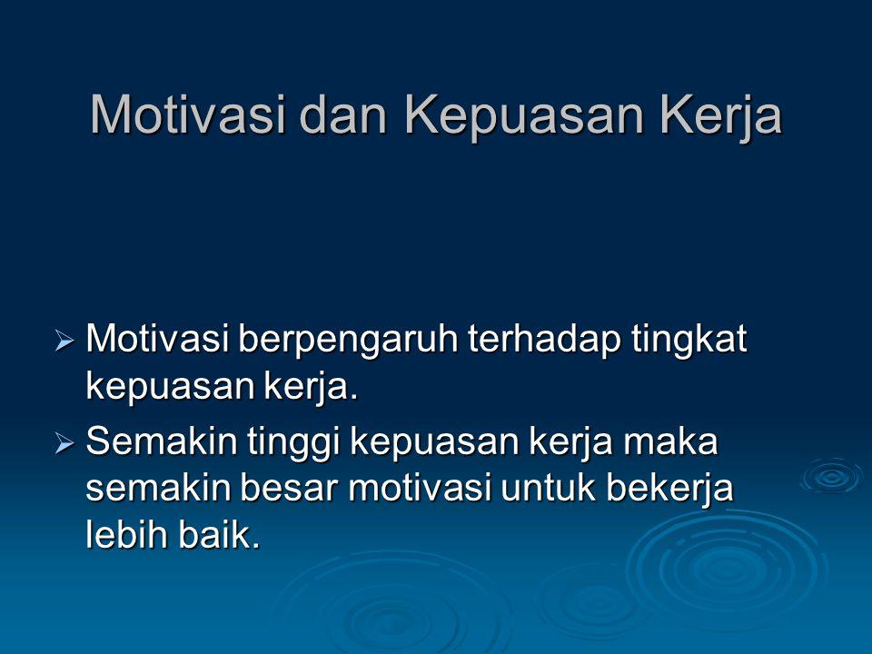 Motivasi dan Kepuasan Kerja  Motivasi berpengaruh terhadap tingkat kepuasan kerja.