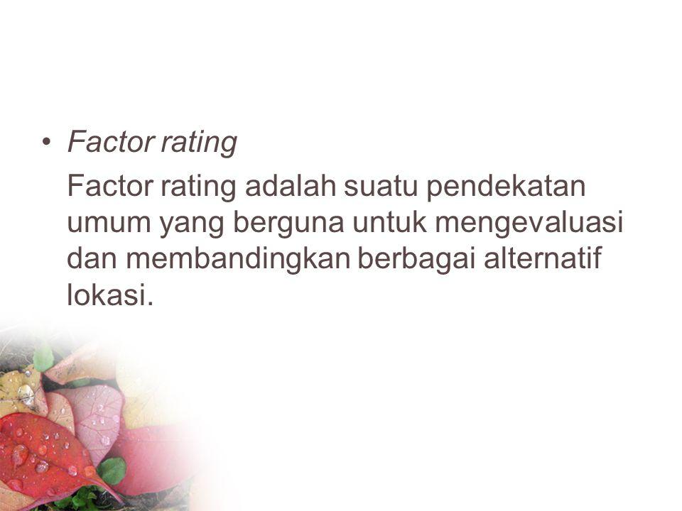 Factor rating Factor rating adalah suatu pendekatan umum yang berguna untuk mengevaluasi dan membandingkan berbagai alternatif lokasi.