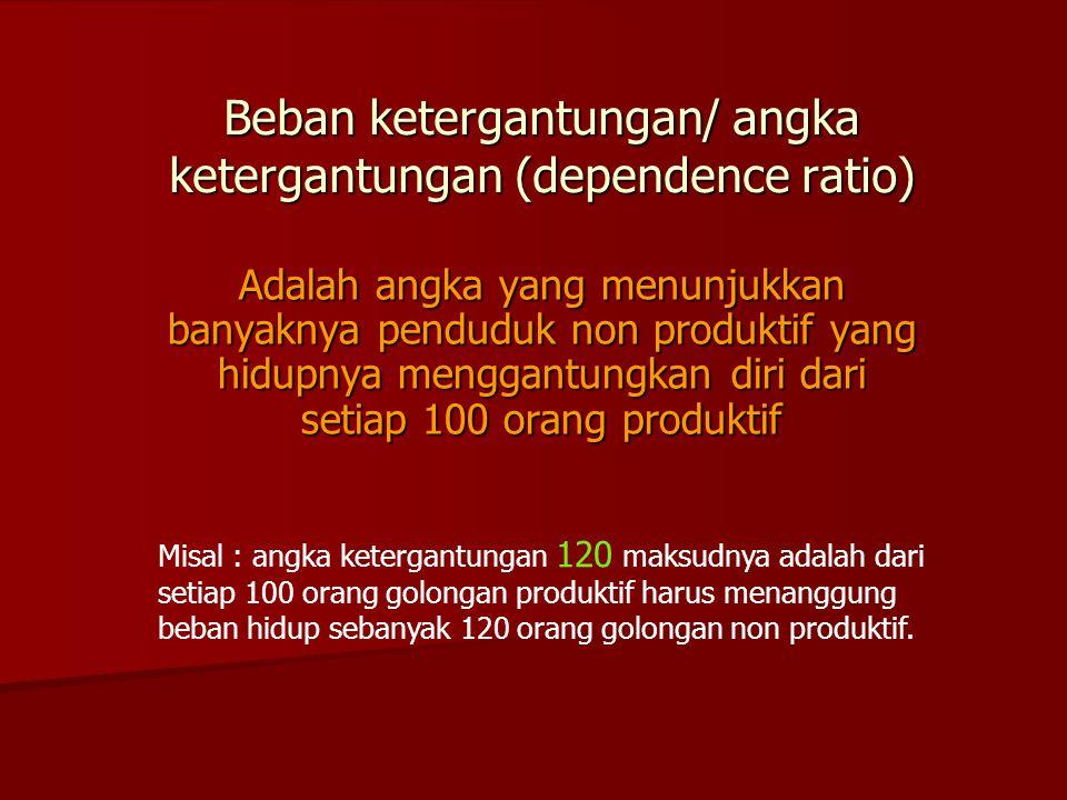 Beban ketergantungan/ angka ketergantungan (dependence ratio) Adalah angka yang menunjukkan banyaknya penduduk non produktif yang hidupnya menggantung