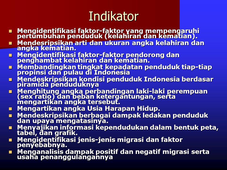 Indikator Mengidentifikasi faktor-faktor yang mempengaruhi pertumbuhan penduduk (kelahiran dan kematian). Mengidentifikasi faktor-faktor yang mempenga