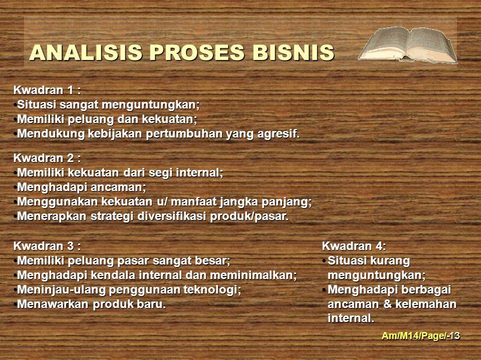 Am/M14/Page/-13 ANALISIS PROSES BISNIS 13 Kwadran 1 : Situasi sangat menguntungkan;Situasi sangat menguntungkan; Memiliki peluang dan kekuatan;Memilik