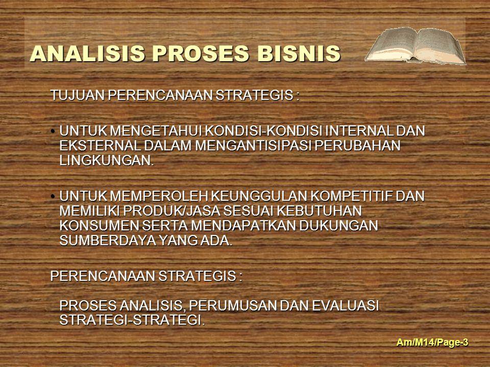 ANALISIS PROSES BISNIS Am/M14/Page-3 TUJUAN PERENCANAAN STRATEGIS : UNTUK MENGETAHUI KONDISI-KONDISI INTERNAL DAN EKSTERNAL DALAM MENGANTISIPASI PERUB