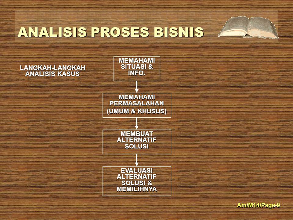 ANALISIS PROSES BISNIS Am/M14/Page-9 MEMAHAMI SITUASI & INFO. MEMAHAMI PERMASALAHAN (UMUM & KHUSUS) MEMBUAT ALTERNATIF SOLUSI EVALUASI ALTERNATIF SOLU
