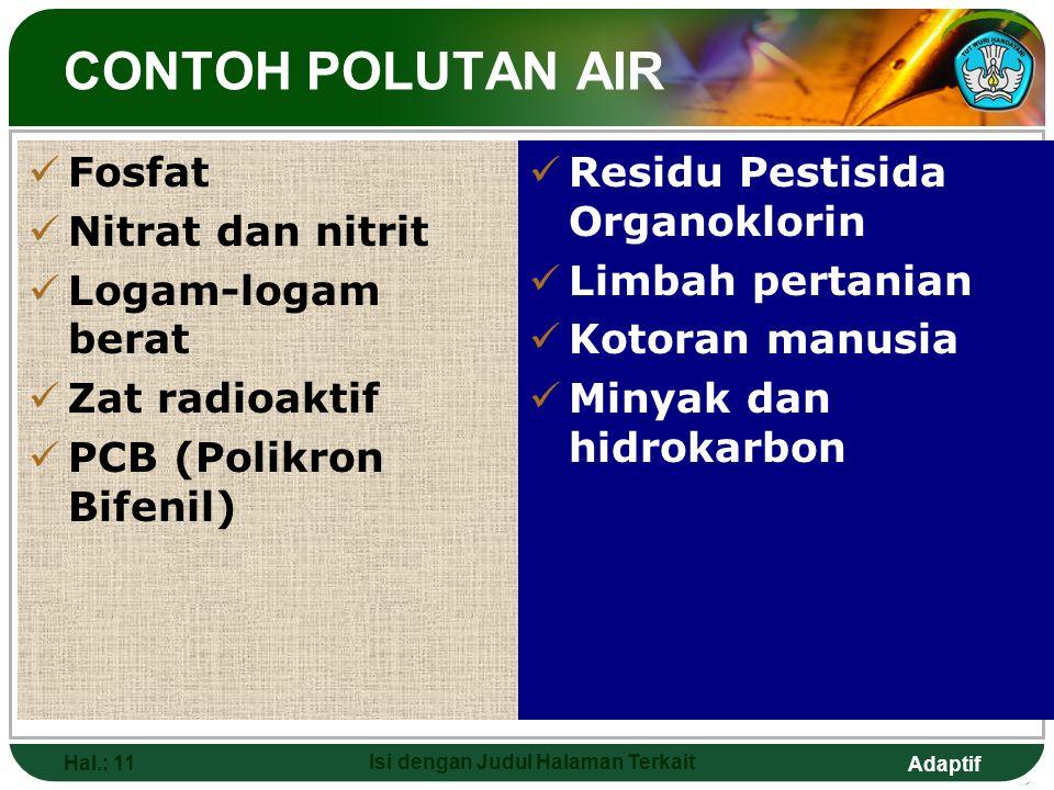 Adaptif Hal.: 11 Isi dengan Judul Halaman Terkait CONTOH POLUTAN AIR Fosfat Nitrat dan nitrit Logam-logam berat Zat radioaktif PCB (Polikron Bifenil)