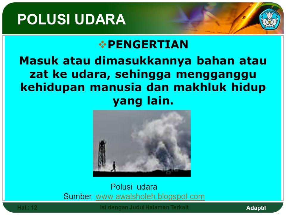 Adaptif Hal.: 12 Isi dengan Judul Halaman Terkait  PENGERTIAN Masuk atau dimasukkannya bahan atau zat ke udara, sehingga mengganggu kehidupan manusia
