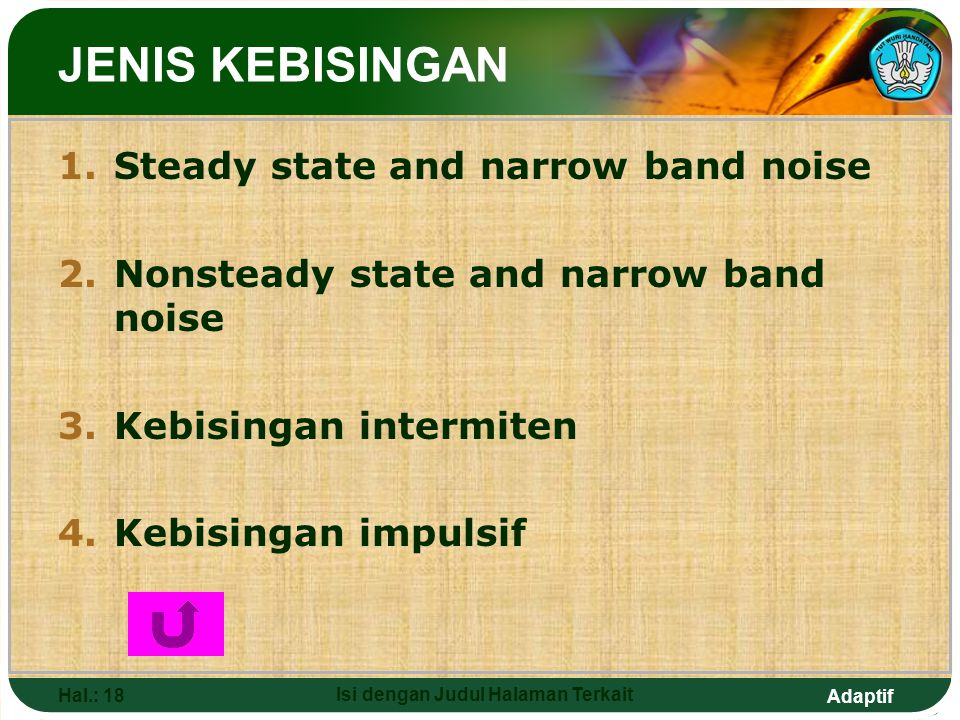 Adaptif Hal.: 18 Isi dengan Judul Halaman Terkait JENIS KEBISINGAN 1.Steady state and narrow band noise 2.Nonsteady state and narrow band noise 3.Kebi