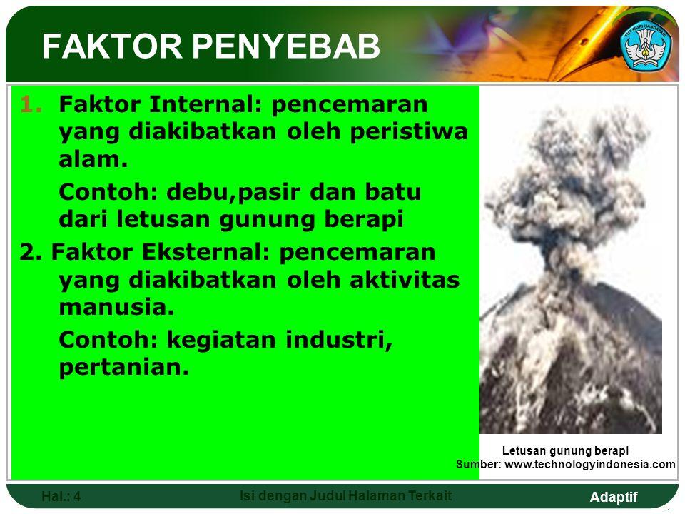 Adaptif Hal.: 4 Isi dengan Judul Halaman Terkait 1.Faktor Internal: pencemaran yang diakibatkan oleh peristiwa alam. Contoh: debu,pasir dan batu dari