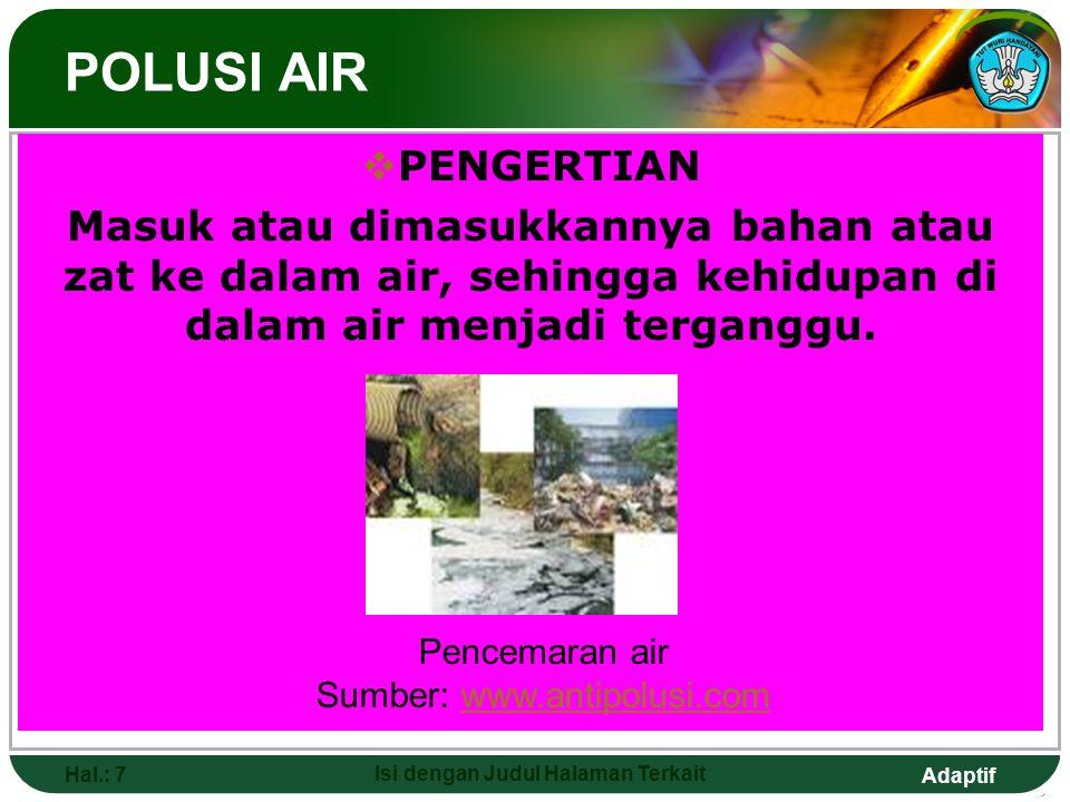 Adaptif Hal.: 8 Isi dengan Judul Halaman Terkait SYARAT AIR BERSIH 1.