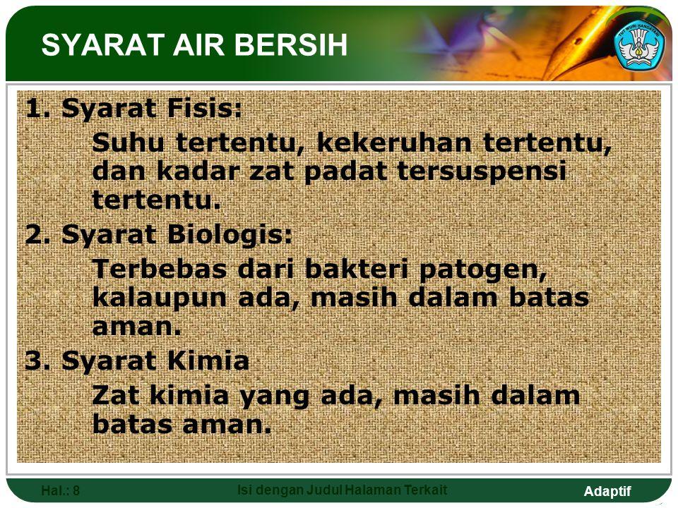 Adaptif Hal.: 8 Isi dengan Judul Halaman Terkait SYARAT AIR BERSIH 1. Syarat Fisis: Suhu tertentu, kekeruhan tertentu, dan kadar zat padat tersuspensi