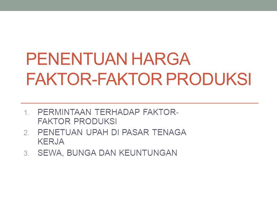 PERMINTAAN TERHADAP FAKTOR- FAKTOR PRODUKSI TEORI PRODUKTIVITAS MARJINAL  Biaya produksi tambahan yang dibayarkan kepada faktor produksi itu sama dengan hasil penjualan tambahan yang diperoleh dari produksi tambahan yang diciptakan oleh faktor produksi tersebut MENENTUKAN JUMLAH FAKTOR PRODUKSI YG DIGUNAKAN  Syarat pemaksimuman kenutungan  Permisalan dalam teori terhadap faktor produksi
