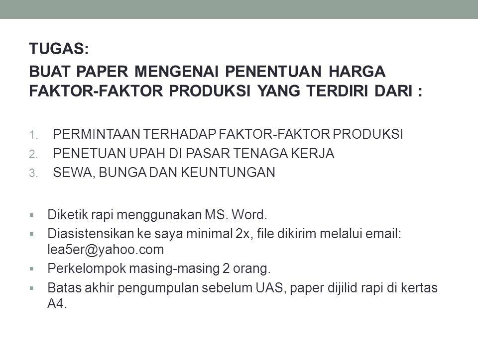 TUGAS: BUAT PAPER MENGENAI PENENTUAN HARGA FAKTOR-FAKTOR PRODUKSI YANG TERDIRI DARI : 1.