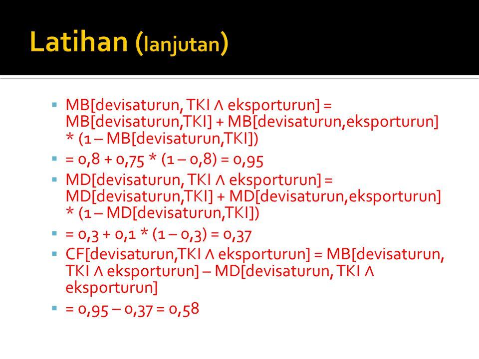  MB[devisaturun, TKI ∧ eksporturun] = MB[devisaturun,TKI] + MB[devisaturun,eksporturun] * (1 – MB[devisaturun,TKI])  = 0,8 + 0,75 * (1 – 0,8) = 0,95  MD[devisaturun, TKI ∧ eksporturun] = MD[devisaturun,TKI] + MD[devisaturun,eksporturun] * (1 – MD[devisaturun,TKI])  = 0,3 + 0,1 * (1 – 0,3) = 0,37  CF[devisaturun,TKI ∧ eksporturun] = MB[devisaturun, TKI ∧ eksporturun] – MD[devisaturun, TKI ∧ eksporturun]  = 0,95 – 0,37 = 0,58