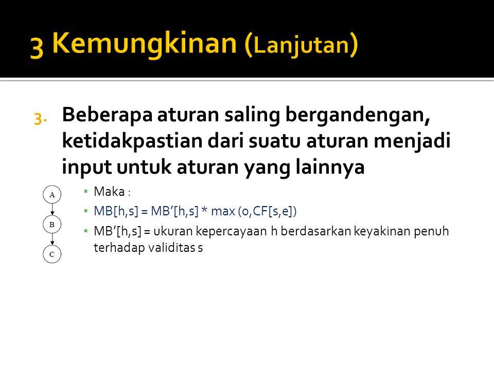 3. Beberapa aturan saling bergandengan, ketidakpastian dari suatu aturan menjadi input untuk aturan yang lainnya ▪ Maka : ▪ MB[h,s] = MB'[h,s] * max (