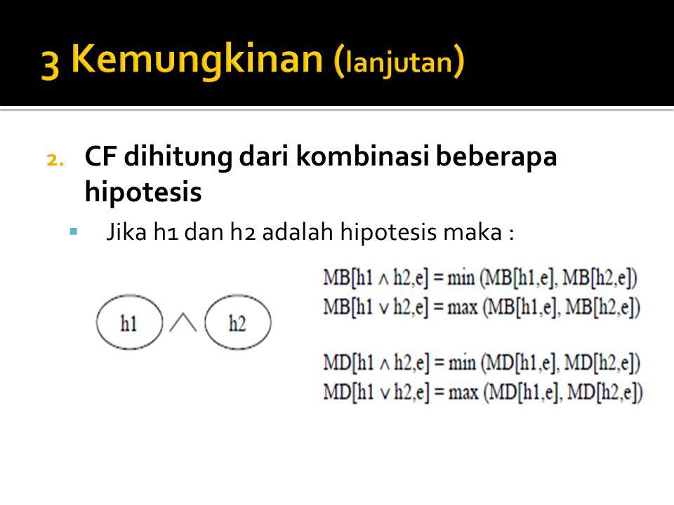 2. CF dihitung dari kombinasi beberapa hipotesis  Jika h1 dan h2 adalah hipotesis maka :
