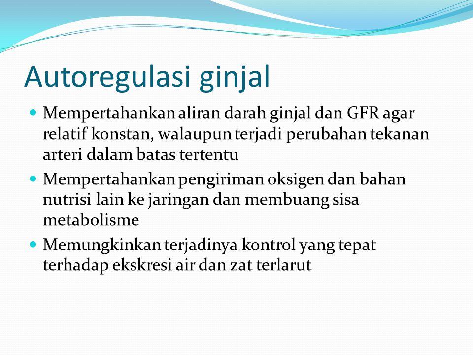 Autoregulasi ginjal Mempertahankan aliran darah ginjal dan GFR agar relatif konstan, walaupun terjadi perubahan tekanan arteri dalam batas tertentu Me