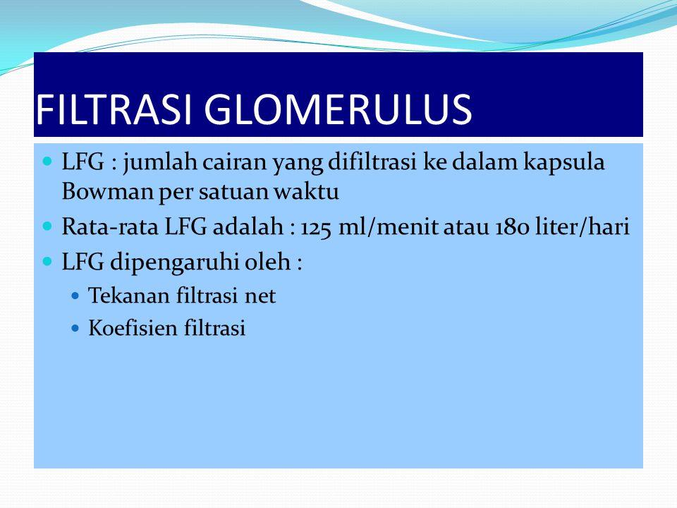 FILTRASI GLOMERULUS LFG : jumlah cairan yang difiltrasi ke dalam kapsula Bowman per satuan waktu Rata-rata LFG adalah : 125 ml/menit atau 180 liter/ha
