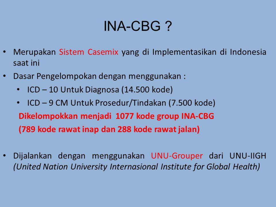 Merupakan Sistem Casemix yang di Implementasikan di Indonesia saat ini Dasar Pengelompokan dengan menggunakan : ICD – 10 Untuk Diagnosa (14.500 kode) ICD – 9 CM Untuk Prosedur/Tindakan (7.500 kode) Dikelompokkan menjadi 1077 kode group INA-CBG (789 kode rawat inap dan 288 kode rawat jalan) Dijalankan dengan menggunakan UNU-Grouper dari UNU-IIGH (United Nation University Internasional Institute for Global Health) INA-CBG ?