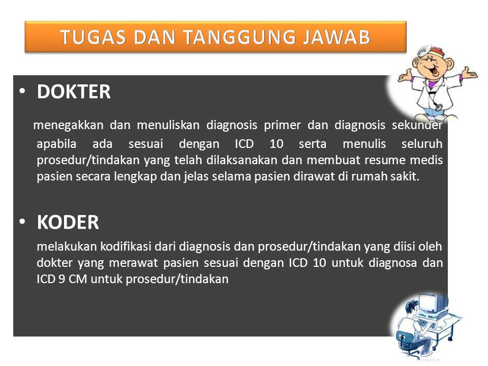 DOKTER menegakkan dan menuliskan diagnosis primer dan diagnosis sekunder apabila ada sesuai dengan ICD 10 serta menulis seluruh prosedur/tindakan yang