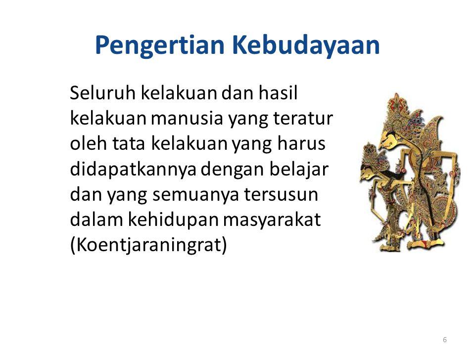 KEBUDAYAAN Asal kata budhayah (Sansekerta) : bentuk jamak dari budi atau akal Kebudayaan : hal-hal yang bersangkutan dengan akal Kluckhohn mengumpulkan 160 definisi kebudayaan 5