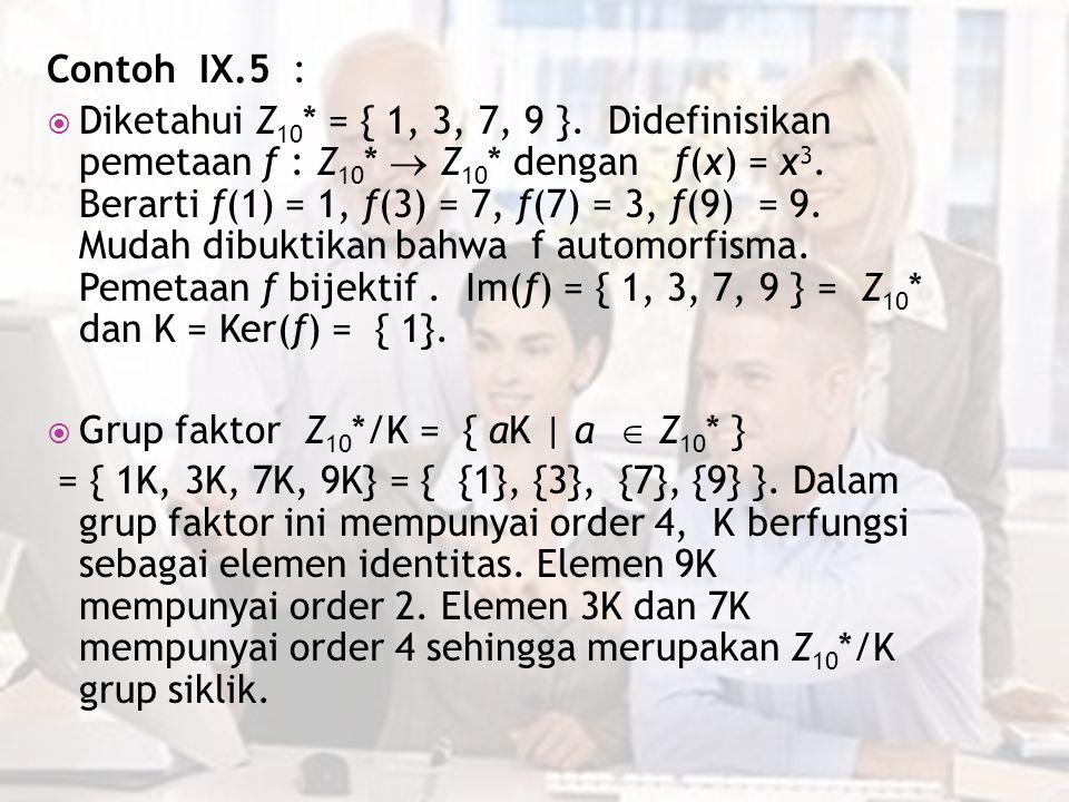 Contoh IX.5 :  Diketahui Z 10 * = { 1, 3, 7, 9 }. Didefinisikan pemetaan f : Z 10 *  Z 10 * dengan f(x) = x 3. Berarti f(1) = 1, f(3) = 7, f(7) = 3,