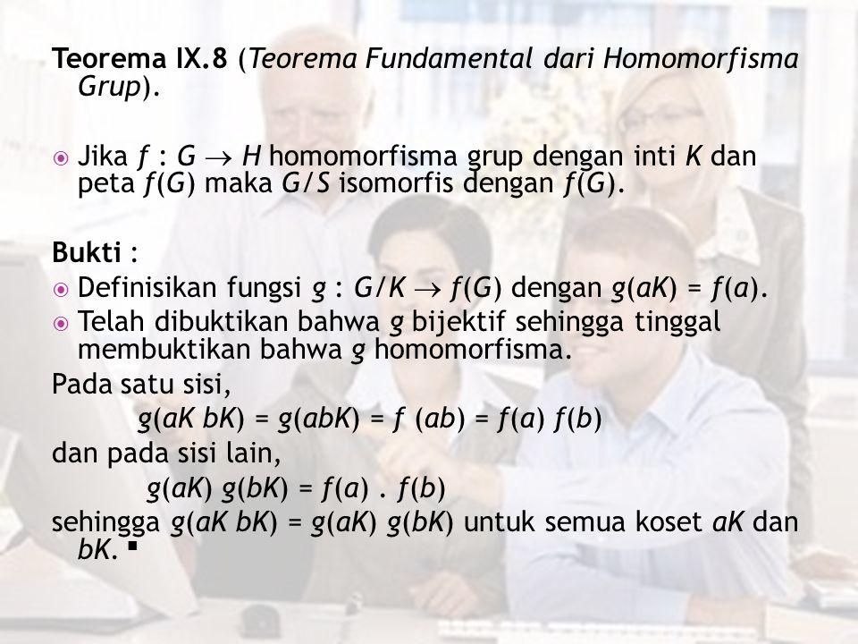 Teorema IX.8 (Teorema Fundamental dari Homomorfisma Grup).  Jika f : G  H homomorfisma grup dengan inti K dan peta f(G) maka G/S isomorfis dengan f(