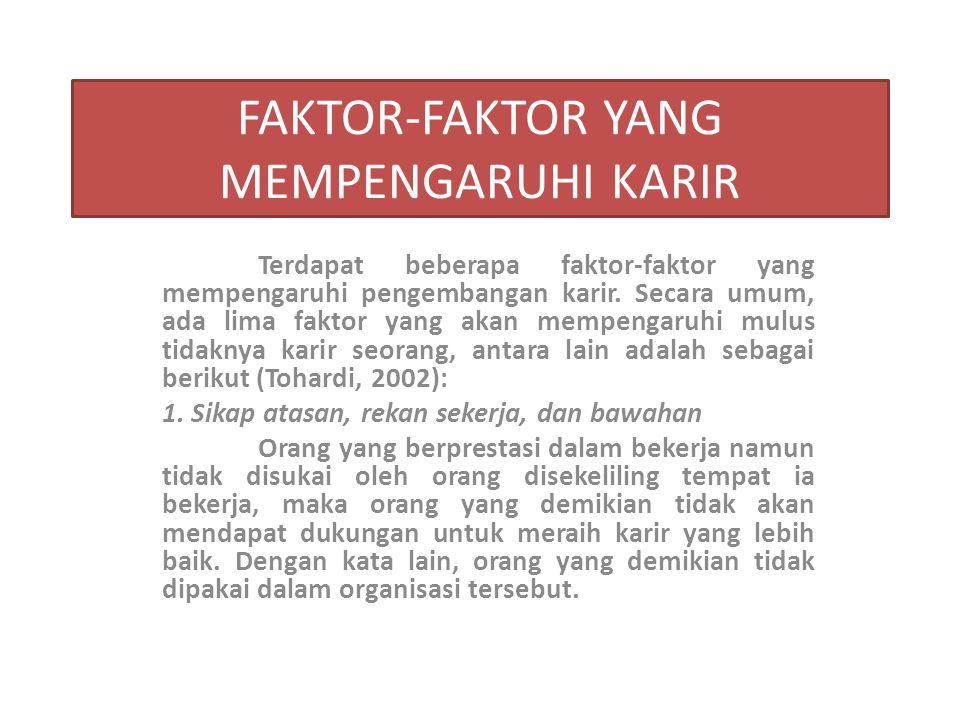 FAKTOR-FAKTOR YANG MEMPENGARUHI KARIR Terdapat beberapa faktor-faktor yang mempengaruhi pengembangan karir. Secara umum, ada lima faktor yang akan mem
