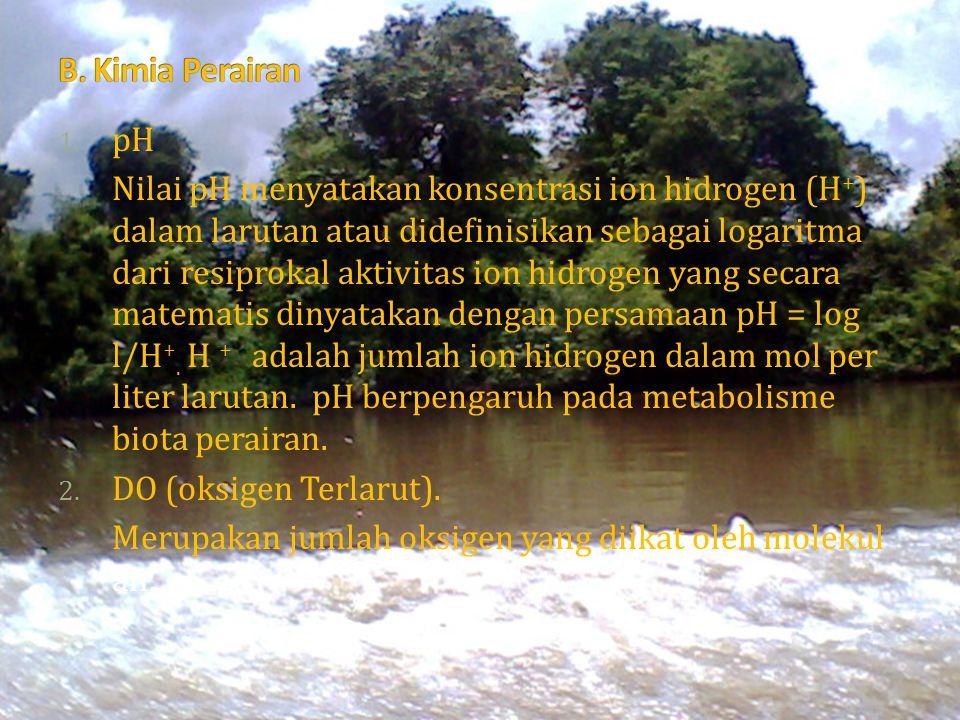 1. pH Nilai pH menyatakan konsentrasi ion hidrogen (H + ) dalam larutan atau didefinisikan sebagai logaritma dari resiprokal aktivitas ion hidrogen ya