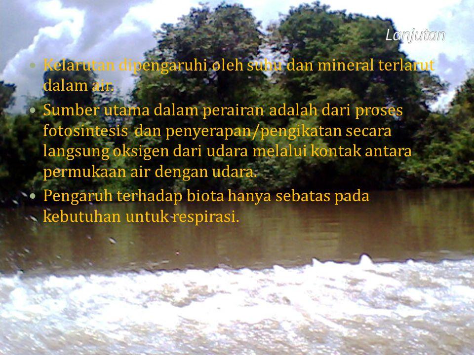 Kelarutan dipengaruhi oleh suhu dan mineral terlarut dalam air. Sumber utama dalam perairan adalah dari proses fotosintesis dan penyerapan/pengikatan