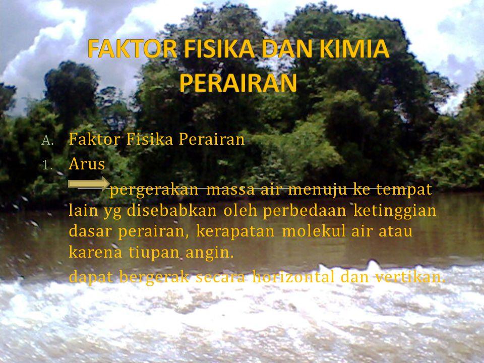 A. Faktor Fisika Perairan 1. Arus pergerakan massa air menuju ke tempat lain yg disebabkan oleh perbedaan ketinggian dasar perairan, kerapatan molekul
