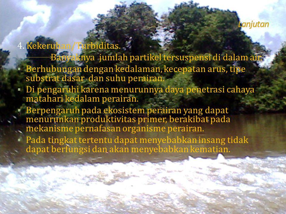 4. Kekeruhan/Turbiditas. Banyaknya jumlah partikel tersuspensi di dalam air.  Berhubungan dengan kedalaman, kecepatan arus, tipe substrat dasar dan s