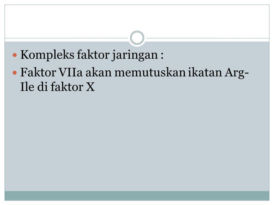 Kompleks faktor jaringan : Faktor VIIa akan memutuskan ikatan Arg- Ile di faktor X