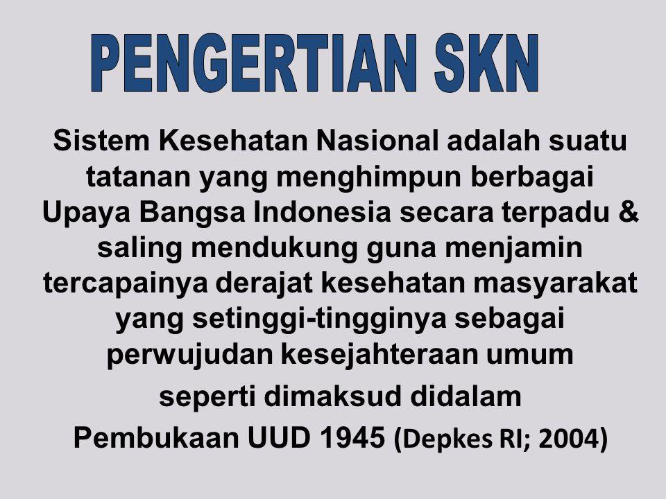 Sistem Kesehatan Nasional adalah suatu tatanan yang menghimpun berbagai Upaya Bangsa Indonesia secara terpadu & saling mendukung guna menjamin tercapainya derajat kesehatan masyarakat yang setinggi-tingginya sebagai perwujudan kesejahteraan umum seperti dimaksud didalam Pembukaan UUD 1945 (Depkes RI; 2004)