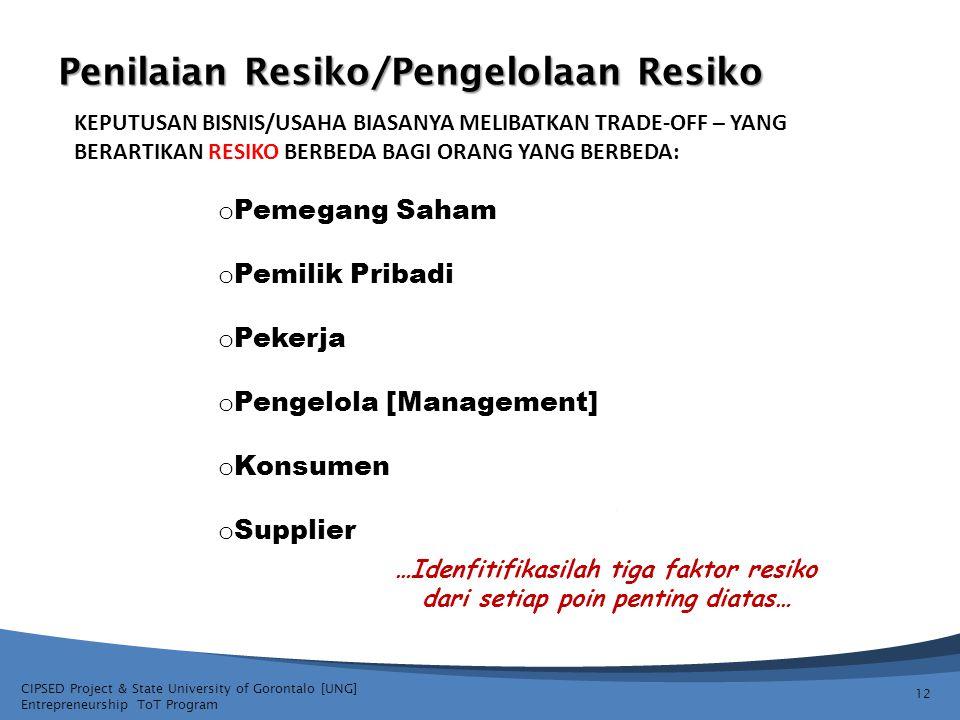 CIPSED Project & State University of Gorontalo [UNG] Entrepreneurship ToT Program Penilaian Resiko/Pengelolaan Resiko 12 KEPUTUSAN BISNIS/USAHA BIASAN