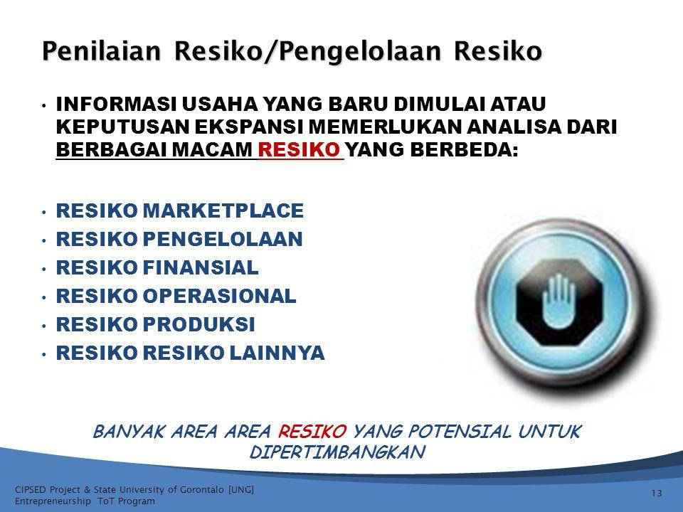 CIPSED Project & State University of Gorontalo [UNG] Entrepreneurship ToT Program Penilaian Resiko/Pengelolaan Resiko INFORMASI USAHA YANG BARU DIMULA