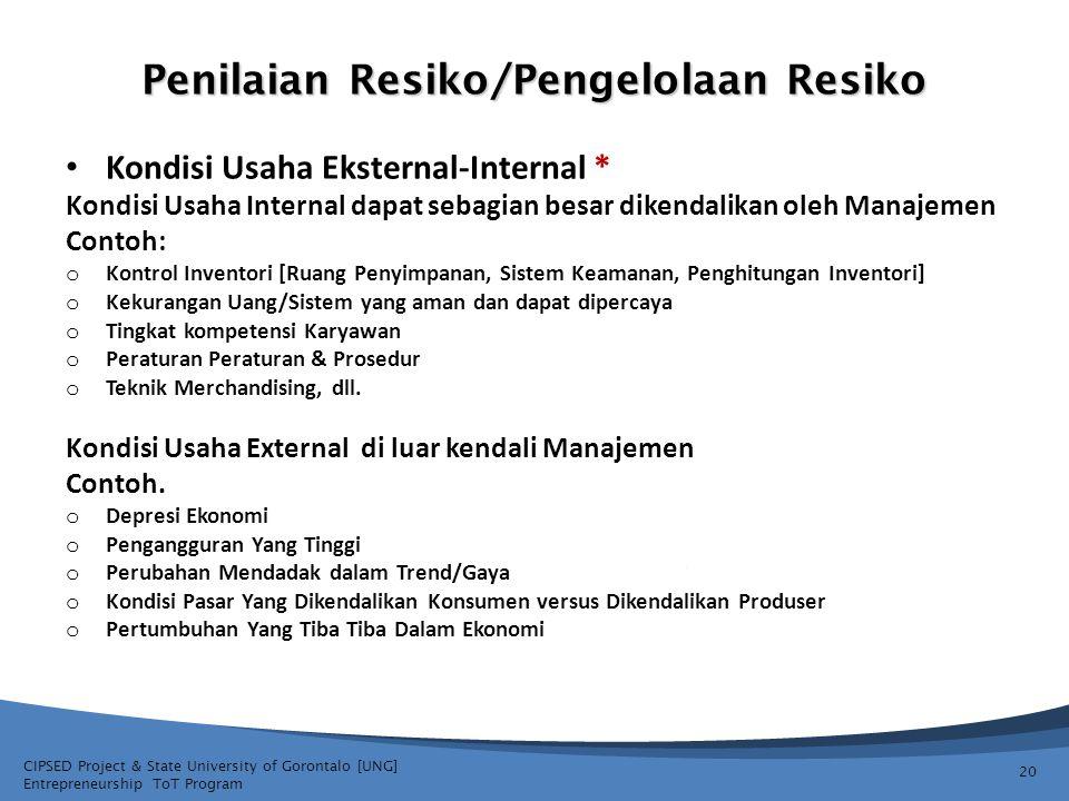 CIPSED Project & State University of Gorontalo [UNG] Entrepreneurship ToT Program Penilaian Resiko/Pengelolaan Resiko 20 Kondisi Usaha Eksternal-Inter