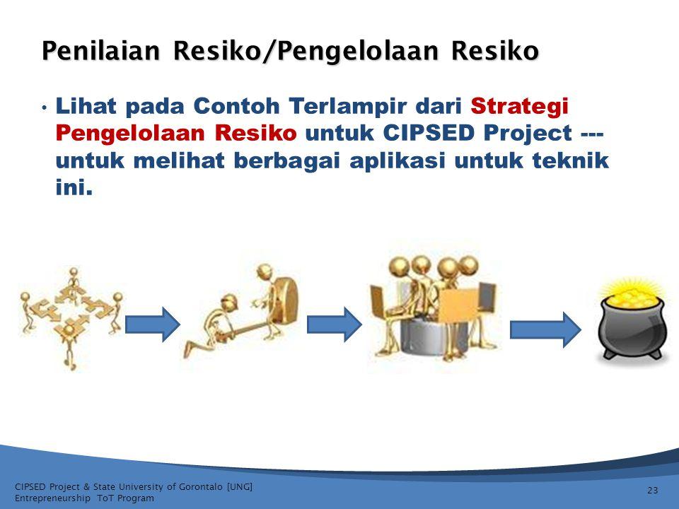 CIPSED Project & State University of Gorontalo [UNG] Entrepreneurship ToT Program Penilaian Resiko/Pengelolaan Resiko Lihat pada Contoh Terlampir dari