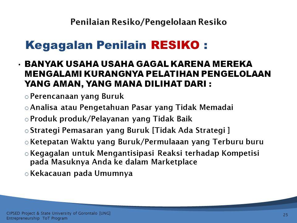 CIPSED Project & State University of Gorontalo [UNG] Entrepreneurship ToT Program Penilaian Resiko/Pengelolaan Resiko BANYAK USAHA USAHA GAGAL KARENA