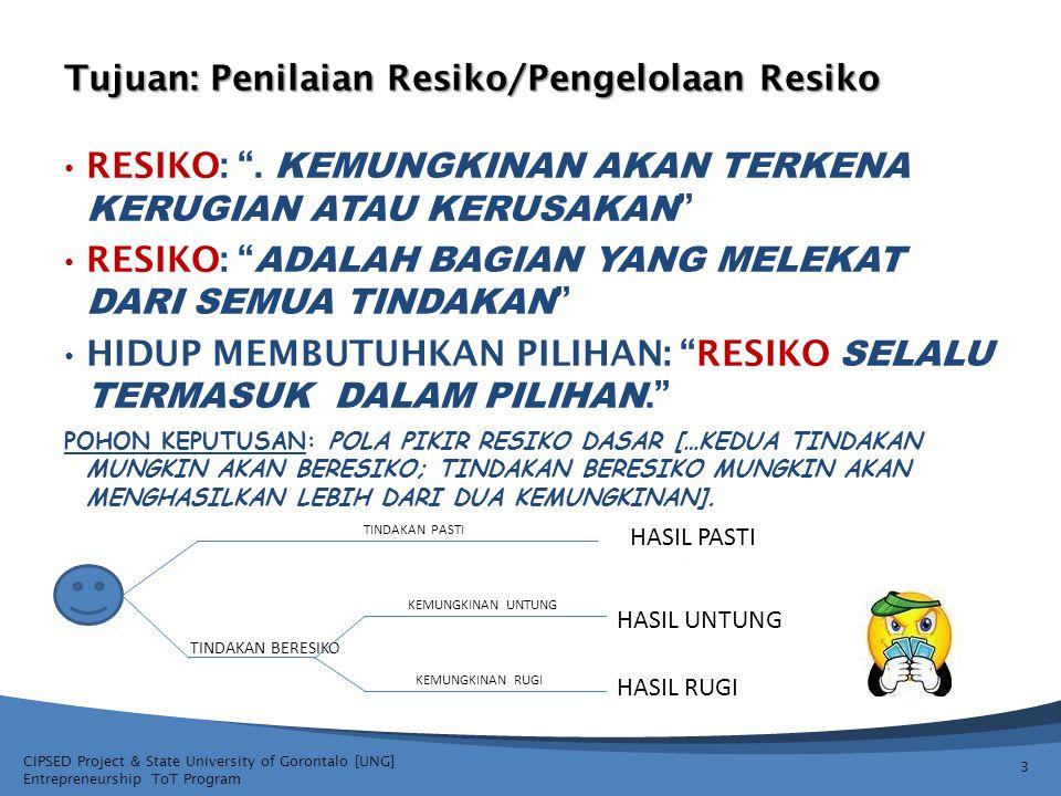CIPSED Project & State University of Gorontalo [UNG] Entrepreneurship ToT Program Penilaian Resiko/Pengelolaan Resiko Lengkapi Strategi Pengelolaan Resiko dengan Kelompok Terfokus anda untuk ide usaha yang kelompok anda telah pilih sebagai rencana usaha 24