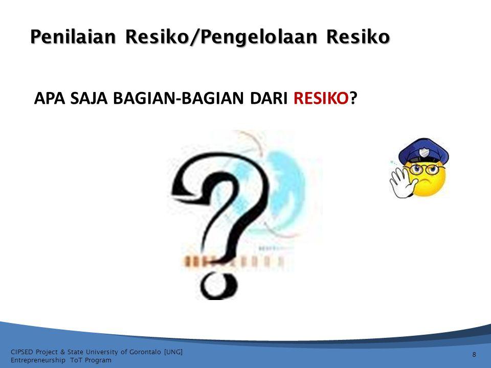 CIPSED Project & State University of Gorontalo [UNG] Entrepreneurship ToT Program Penilaian Resiko/Pengelolaan Resiko 9 APA SAJA BAGIAN-BAGIAN DARI RESIKO.