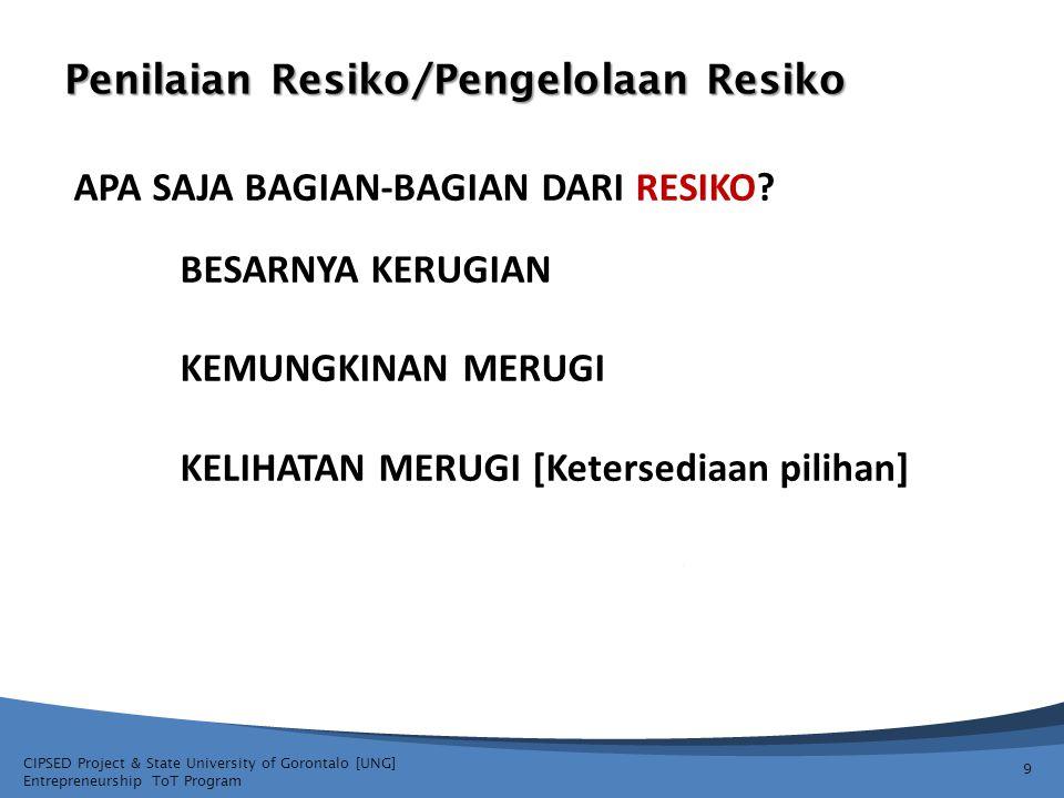 CIPSED Project & State University of Gorontalo [UNG] Entrepreneurship ToT Program Penilaian Resiko/Pengelolaan Resiko 9 APA SAJA BAGIAN-BAGIAN DARI RE