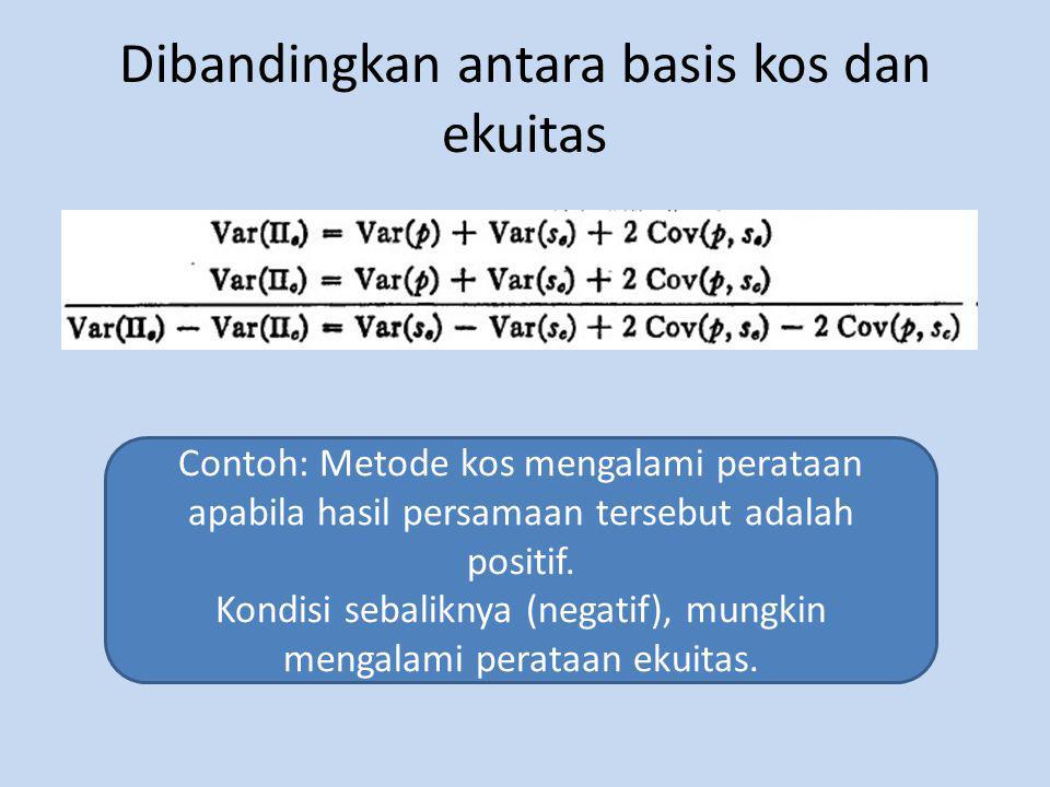 Dibandingkan antara basis kos dan ekuitas Contoh: Metode kos mengalami perataan apabila hasil persamaan tersebut adalah positif.