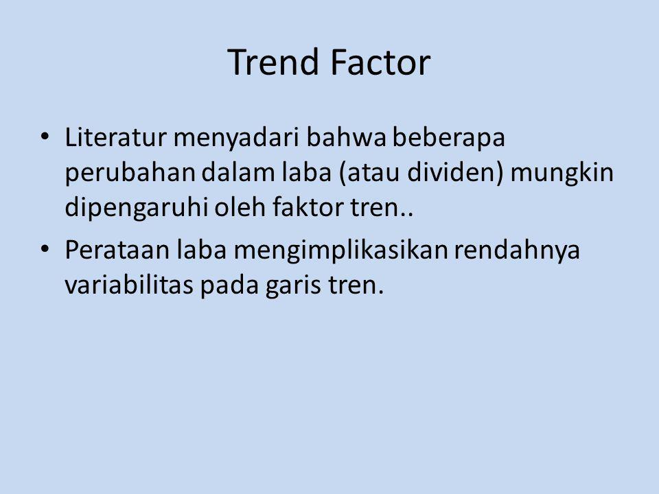 Trend Factor Literatur menyadari bahwa beberapa perubahan dalam laba (atau dividen) mungkin dipengaruhi oleh faktor tren..