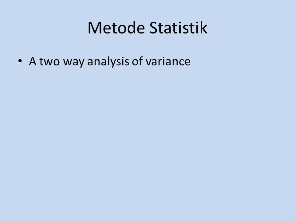 Metode Statistik A two way analysis of variance